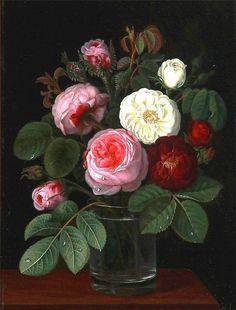 Roses in a glass by Johan Laurentz Jensen