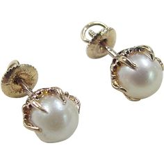 Victorian Revival 14k Gold Cultured Pearl Stud Earrings