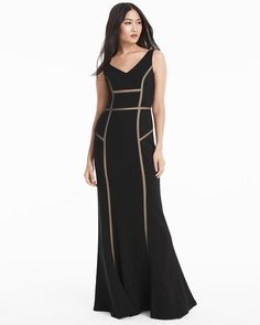 Sleeveless Contrast Mesh Inset Gown