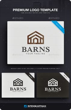 Barns Logo by IntenseArtisan HOUSE LOGO TEMPLATELOGO SPECIFICATION:100 Resizable and Scalable Vector Organized group / layers / names Main Logo   Black and Wh
