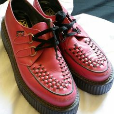 Pink T.U.K. 1 inch sole Creepers Shoes Still in very good shape, minor buffs and scratches from being worn T.U.K. Shoes