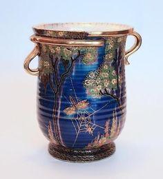 Large Crown Devon Fieldings DRAGONFLY pattern vase