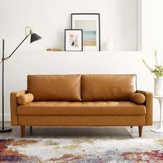 Shop a great selection of Modway Valour Upholstered Faux Leather Sofa, Tan. Find new offer and Similar products for Modway Valour Upholstered Faux Leather Sofa, Tan. Tan Sofa, Upholstered Sofa, Tan Couches, Leather Living Room Set, Living Room Sofa, Furniture Deals, Modern Furniture, Tan Leather Sofas, Modern Leather Sofa