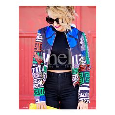 SheIn(sheinside) Multicolor Long Sleeve Geometric Print Crop Jacket ($31) ❤ liked on Polyvore featuring outerwear, jackets, multi color, collar jacket, blue jackets, long sleeve jacket, multi color jacket and multi colored jacket