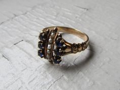 Antique Ring / Victorian 10k Solid Gold Ring with by LUXXORVintage, $318.00