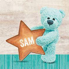 Er is een ster geboren! Dit geboortekaartje is voorzien van een turquoise beer die de geboorte van een jongen aankondigt. Teddy Bear, Toys, Turquoise, Animals, Baby, Names, Animaux, Animales, Dieren