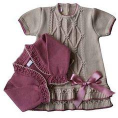 Hermoso 18 meses Knitting For Kids, Baby Knitting Patterns, Crochet Cardigan, Knit Dress, Crochet Baby, Knit Crochet, Kids Patterns, Little Girl Dresses, Baby Dress