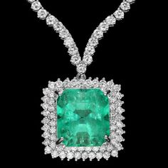 SOLD $18000+     18k Gold 17.00ct Emerald 10.70ct Diamond Necklace