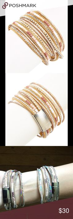 """HOST PICK/TAUPE RHINESTONE LEATHER WRAP BRACELET HOST PICKTAUPE RHINESTONE LEATHER WRAP BRACELET. With layers of shimmer and studs, this leather wrap is a multidimensional arm chain. (3rd and 4th pic shows BEIGE & TAUPE BRACELETS/ sold separately).     Bundle to save DETAILS:  Magnetic closure, leather/metal/rhinestones. Size: 0.6"""" W X 15"""" LHOST PICK/BEST IN JEWELRY 8/6/16 by @lulupie BOUTIQUE Jewelry Bracelets"""