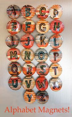 grown-up alphabet magnets. directions at http://www.ehow.com/how_4899584_make-glass-stone-message-magnet.html