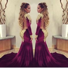 Women Velvet Evening Dresses Sexy Glitz Beads High Neck Long Sleeves Gold Appliques Sheer Back Long Prom Gowns with Buttons