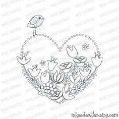 Spring Flowers Bird Heart Mothers Day Valentines by InkeeDoodles