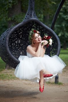 Bride, short haircut, flowercrown Венок невесты