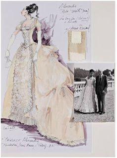 Costume d'Anne Roussel pour la série télé Princesse Alexandra (lot n°290)  Gouache sur papier de Claude Catulle, avec échantillonnage et photographie jointe