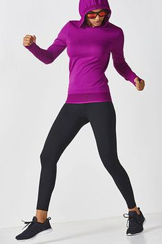 eat the chill in a mesh-accented, seamless hoodie and our fleece-lined, performance leggings.