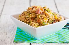 Quinoa fried rice is a great way to use up leftover ham. On the table in less than 30 minutes, this recipe is high in fiber and protein.