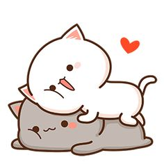 Pin by rin on kawaii in 2019 Wallpaper Gatos, Cat Wallpaper, Kawaii Wallpaper, Cute Animal Drawings, Kawaii Drawings, Cute Drawings, Cute Love Pictures, Cute Love Gif, Cute Couple Cartoon