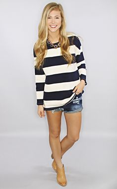 nautical stripes sweater - navy