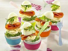 Gefüllte Eier - Rezepte für Brunch und Buffet - eier-schinken-rauke  Rezept