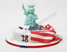 Caros Zuckerzauber Blog - Zuckerblumen, Motivtorten und vieles mehr: USA Torte mit Freiheitsstatue