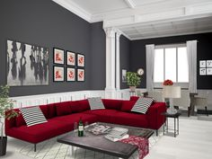 Pop Art Design for Living Room with Grey Sofa and Red Wall Red