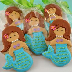 Mermaid cookies | Mermaid Sugar Cookie 12 favors bagged and bowed by TSCookies