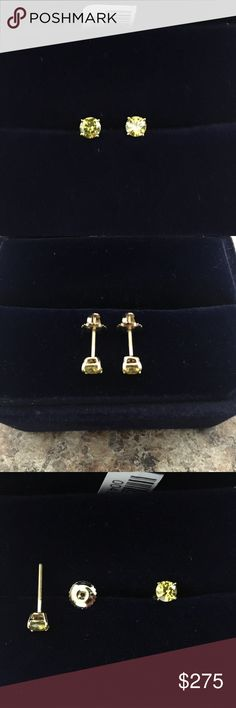 💎14K ROUND CANARY YELLOW DIAMOND STUD EARRINGS💎 Beautiful 14K yellow gold earrings with 1/2 CT canary diamonds. Measures 1/8 inch in width and 1/8 inch in length. Gift box included. Worn twice and recently cleaned. Feel free to make me an offer. No trades. No lowball offers. Jewelry Earrings