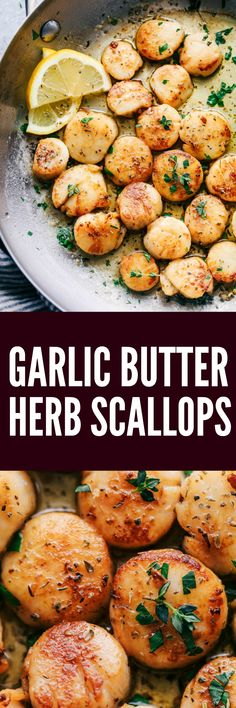 Garlic Butter Herb Scallops are pan seared and have the best buttery garlic herb sauce. This is a quick and simple meal that tastes straight from a restaurant! Fish Recipes, Seafood Recipes, New Recipes, Cooking Recipes, Favorite Recipes, Healthy Recipes, Recipies, Clam Recipes, Vegetable Recipes