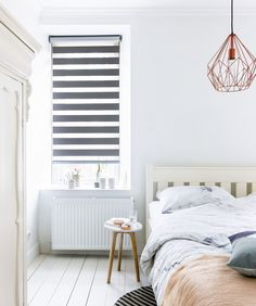 Room darkening sheer shades are perfect for bedrooms-privacy options plus sun blockage. Dream Bedroom, Home Decor Bedroom, Modern Bedroom, Small Bedroom Designs, Kitchens And Bedrooms, Beautiful Bedrooms, Home And Living, Living Spaces, Interior Design