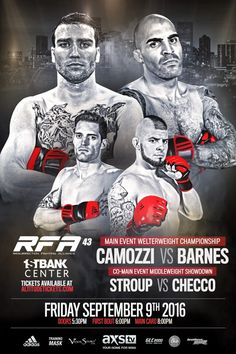 RFA WELTERWEIGHT TITLE FIGHT HEADLINES RFA RETURN TO COLORADO RFA 43 – CAMOZZI vs. BARNES MAIN CARD AND PRELIMINARY BOUTS ANNOUNCED FRIDAY, SEPTEMBER 9th LIVE on AXS TV LIVE at the 1STBANK CENTER i…
