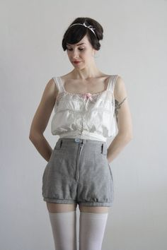 Cute high waist shorts + thigh high socks + Antique Lace Blouse . Lace Crop Top . Pink Ribbon Tie . 1910s . Vintage Shirt