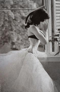 Corset and chiffon wedding dress Beautiful Lingerie, Sexy Lingerie, Retro Lingerie, Corsets, Wedding Underwear, Vintage Underwear, Kajal, Look At My, Vintage Corset