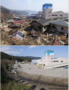 Japan tsunami and earthquake: Pictures of recovery 3 months later Japan Earthquake, Earthquake And Tsunami, Before After Photo, Before And After Pictures, All Nature, Amazing Nature, Tornados, Strange Weather, Extreme Weather