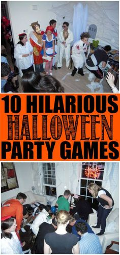 10 fun Halloween party games that are perfect for kids for teens or even for adults! Great ideas that can be played in the classroom indoor or even at an outdoor party! And best of all the ideas are easy cheap and not too scary. I love the idea of Halloween Party Games, Halloween Tags, Halloween Designs, Casa Halloween, Adornos Halloween, Hallowen Costume, Halloween Food For Party, Birthday Party Games, Halloween Birthday