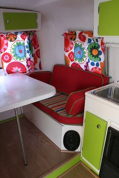 inside of a 1974 Boler...look at those speakers and lovely kitchenette