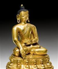 A WELL GILDED BRONZE FIGURE OF #BUDDHA #SHAKYAMUNI. Tibet, 13th/14th c. - #asianart #asiatica #tibet #kollerauktionen
