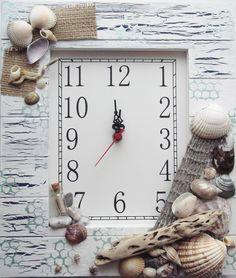 Shell clock birthday gift, mixed media, upcycling, cornish sea shells