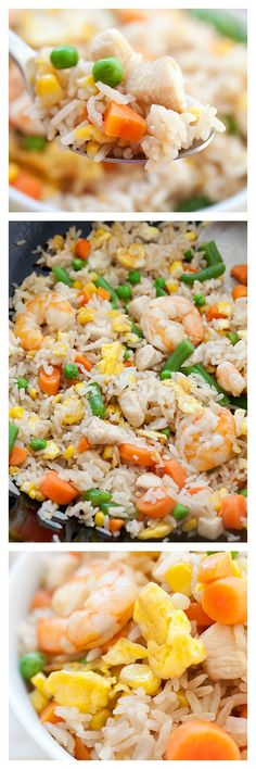 Chinese Fried Rice Recipe with Chicken with Shrimp - Easy, breezy recipe that guarantees the best tasting fried rice EVER. Learn the secret techniques and ingredients used.
