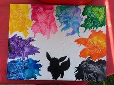 Crayon Eeveelutions ... jolteon, sylveon, glaceon, leafeon, flareon, umbreon, eevee, vaporeon, espeon, pokemon
