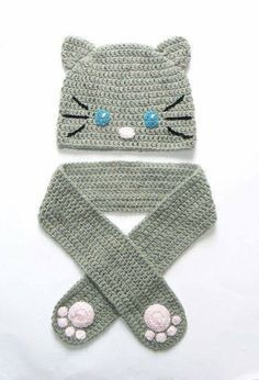 Cat Beanie for Girls Crochet beanie Fall Spring hat Gray por Häkeln Kleinkind Diy Tricot Crochet, Crochet Kids Scarf, Crochet Animal Hats, Crochet Baby Hats, Crochet Beanie, Crochet Scarves, Crochet For Kids, Crochet Hats For Girls, Crochet Stitches