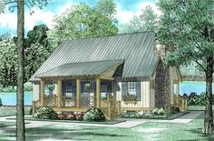 Cabin Country Southern Elevation of Plan 62115