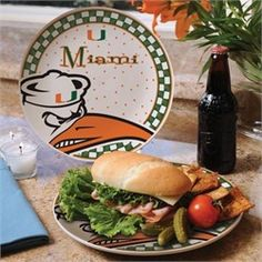 Miami Hurricanes Ceramic Plate Game Day Round Plate