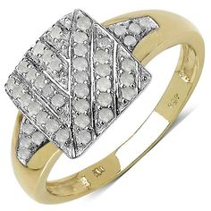 Malaika 0.24 Carat Genuine White Diamond 14K Gold Plated .925 Sterling Silver Ring
