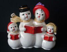 Vintage Christmas Snowman Family Caroling Candle Holder/Planter  Japan
