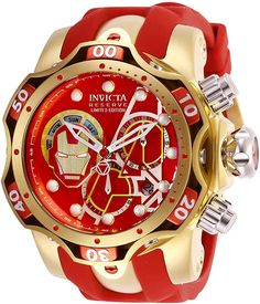 Shop the latest collection of Invicta Men's Marvel Stainless Steel Quartz Watch Silicone Strap, red, 26 (Model: from the popular stores - all in one Automatic Watches For Men, Best Watches For Men, Luxury Watches For Men, Amazing Watches, Cool Watches, Unusual Watches, Patek Philippe, High End Watches, Omega