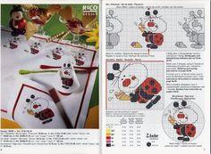 Cross-stitch Cute Ladybug Tablecloth & Borders, part 4...   Божья коровка с сердечками/Magazine Rico — Small ladybird   Мои рукодельки