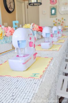 Sewing themed birthday party via Kara's Party Ideas | Kara Allen | KarasPartyIdeas.com A lot of cute as a button elements, decor, cupcakes, food, games and more!_-189