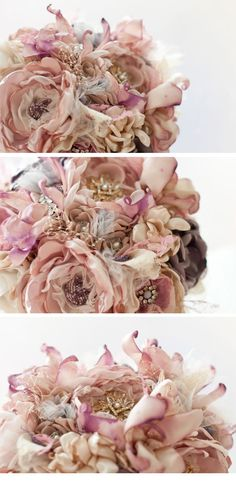 Fabric Flower Bouquet Wedding Brooch Bouquet by Cultivar on Etsy