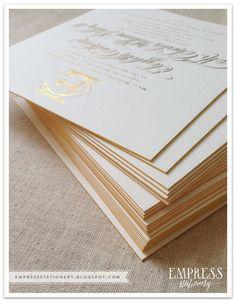 Empress Stationery: Libba + Will: Gold letterpress Wedding invitations Ivory Wedding Invitations, Letterpress Wedding Invitations, Elegant Wedding Invitations, Wedding Stationary, Wedding Invitation Cards, Wedding Paper, Wedding Gold, Wedding Nails, Trendy Wedding