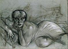 """Otto Dix, Liegender weiblicher Akt (Karton zu """"Liegende auf Pantherfell""""), 1926"""